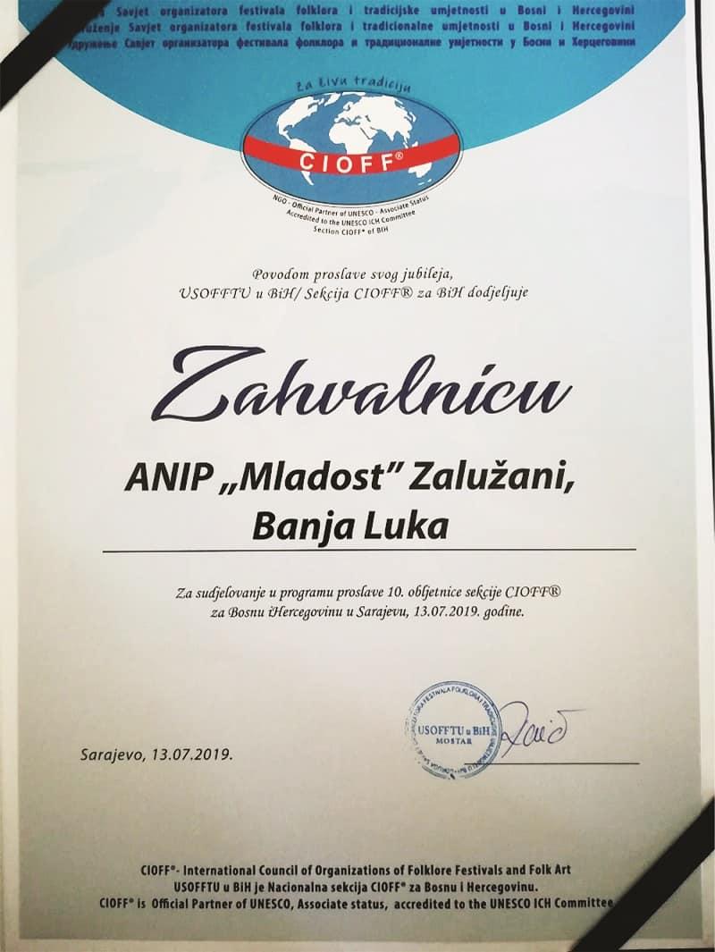 CIOFF Zahvalnica za ANIP Mladost